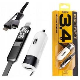 REMAX Ładowarka adapter 2w1 MicroUSB Lightning 3.4A